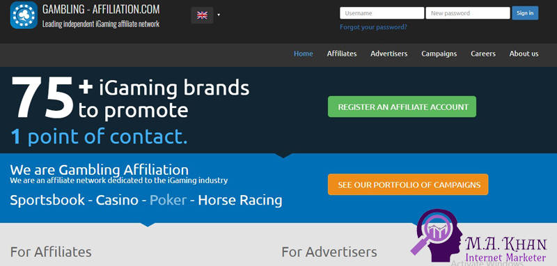 Affiliate Marketing Websites-Gambling Affiliation